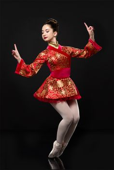 Zipper ack dress with attached leotard: Red and gold brocade, red velvet, and gold panne velvet; Belt: (Removable) Red velvet and red spandex; Costumes Japan, Tap Costumes, Nutcracker Ballet Costumes, Chinese Dance, Chinese Art, Tutu Ballet, Ballet Shows, Dance Tights, Dance Fashion