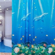71 Inch Ocean Theme Dolphin Tropical Fish Coral Bath Perfect Shower Curtain with 12 Hooks Ocean Themes, Bathroom Shower Curtains, Tropical Fish, Dolphins, Hooks, Coral, Prints, Exotic Fish, Common Dolphin