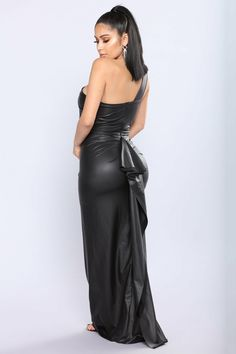 Available In Black Asymmetrical Gown Faux Leather Fabrication One Shoulder Style Back Ruffle Train Detail Polyester Spandex Lining: Polyester Satin Dresses, Sexy Dresses, Fashion Dresses, Gowns, Lovely Dresses, Bodycon Outfits, Sexy Outfits, Sexy Long Dress, Dress Black