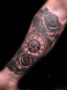 ce198db32 tattoo Black N Grey Pocketwatch mechanical pocketwatch tattoo realism ...  Mechanic Tattoo, Pocket