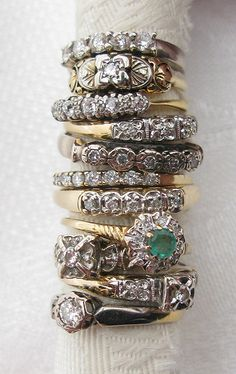 art deco stacking rings/ Vintage Estate 14K Gold Stack Band w/ Diamonds III