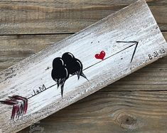 Wood Arrow Wall Art Valentine's Day Gift Farm Wood Sign You and Me Sign Signs Reclaimed Wood Art Gift Engagement Gift Idea Love Bird Painting Wood Love Art Wood Wall Decor Wedding Anniversary Gift for Couple by Linda Fehlen Wood Gallery You and me – birds Arrow Painting, Love Birds Painting, Painting On Wood, Rustic Painting, Wood Paintings, Painting Quotes, Love Birds Drawing, Diy Painting, Arte Pallet