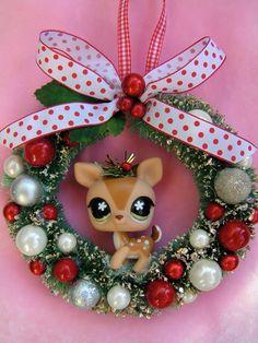 Xmas Wreath Little Pet Shop Darling Reindeer...handmade and ooak