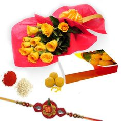 Roses with Motichur Laddu http://www.festive-xpressions.com/product/RAKHIEXP58