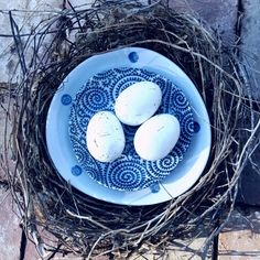 This beautiful bird nest fell out of one of our gum trees the tenants left home; what a stunningly simple centre table piece r. by interiors_by_raw_design_ Table Centers, Center Table, Centre Pieces, Table Centerpieces, Beautiful Birds, White Ceramics, Nest, Blue And White, Pottery