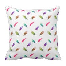 Brightly Colored Feathers Throw Pillow