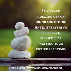 If you are holding off on doing something until everything is perfect, you will be waiting your entire lifetime. - Lisa Layden