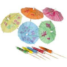 Aloha! Our classic Parasol Picks are one of the best sellers here at Amols'. These Parasol Picks look delightful sitting atop an icy cold tropical drink at your next Luau or tropical themed party. The classic little umbrellas definitely set the mood for a great Luau.