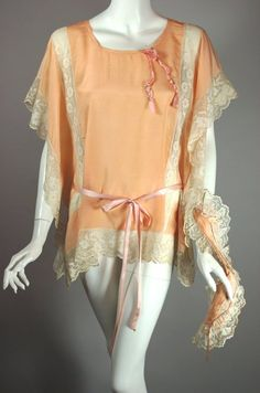 SOLD Flapper era 1920s lingerie top bed jacket bandeau peach silk size S