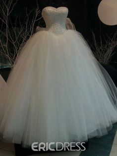 Gorgeous Pearls Sweetheart Ball Gown Wedding Dress