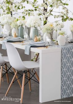 """Scandinavian Style Shoot featured in WedLuxe Magazine's """"Inspired by Wanderlust"""" Issue Scandinavian Style, Scandinavian Wedding, Wedding Chairs, Wedding Table, Wedding Reception, White Centerpiece, Centerpieces, Mod Wedding, Wedding Ideas"""