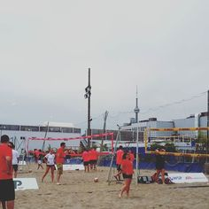 Such a great afternoon with y@bildgta of beach volleyball with a view. #cntower #toronto #volleyball #beach #beachvolleyball #tournament # work #networking #sports