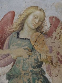 "Detail of the detached fresco ""Madonna in Trono"", or Madonna and Musical Angels • Raphael."