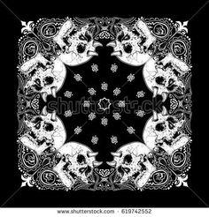 Bandanna pattern with skull vector