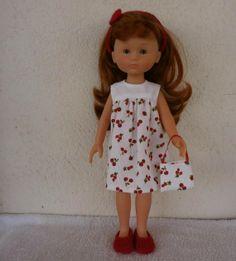 Ensemble 'cerises et framboises' pour poupée Chérie. MCL Poupées, vêtements pour les poupées et les poupons