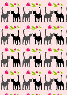 Free digital cat valentine scrapbooking paper - ausdruckbares Geschenkpapier - freebie | MeinLilaPark – DIY printables and downloads