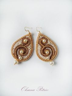 Beaded earrings.  Brown and gold by ODesing on Etsy