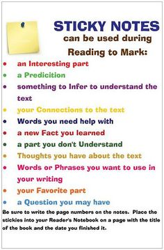 Great poster for using sticky notes during reading.