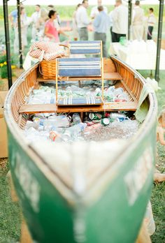 Brides.com: . Allow your guests to grab-and-go (and skip the lines!) with this unexpected idea — a canoe bar! No need to tend this station, just add ice and toss in the drinks.