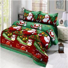 Cartoon Bedding Sets Merry Christmas Gift Santa Claus Bedclothes Duvet Quilt Cover Bed Sheet Pillowcases New Year linens Duvet Bedding Sets, Quilt Bedding, Linen Bedding, Comforters, Bed Linen, Cotton Bedding, Bedspreads, Bed Covers, Duvet Cover Sets