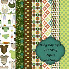 Digital Scrapbook Papers CU Okay Baby Boy Kyle