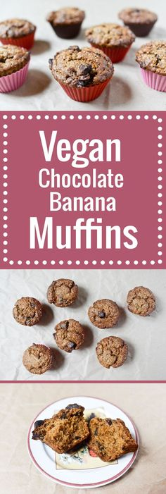 Astoundingly satisfying vegan chocolate banana muffins, moist and tender and chocolate-chunky, with flavors big and bold. Also, pretty easy to put together.