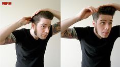 Forces of Geek: pop culture is our bitch: How To Style A Pompadour – The Good Kind Of Grease Rockabilly Men, Rockabilly Fashion, Boys Leather Jacket, Leather Men, Leather Jackets, Teddy Boys, Sideburns, Retro Hairstyles, Psychobilly