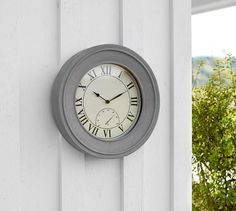Outdoor Concrete Clock U0026 Thermometer | Pottery Barn