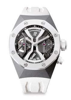 Audemars Piguet Royal Oak Concept GMT Tourbillon in white ceramic #audemarspiguet #watches