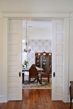 Vintage restored historic Southern home with high ceilings and fabulous sliding wood pocket doors! - August 24 2019 at Pocket Door Installation, Historic Homes For Sale, Diy Room Divider, Artwork For Home, Southern Homes, Pocket Doors, Interior Barn Doors, Door Design, Small Spaces