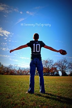 teenage boy football player senior portrait This will be cool for when Trenton gets older