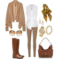 A fashion look from August 2012 featuring beige cardigan, white shirt and brown pants. Browse and shop related looks. Dressy Casual Outfits, Fall Outfits, Cute Outfits, Fashion Outfits, Casual Attire, Fasion, Fashion Ideas, Colored Pants Outfits, Khakis Outfit