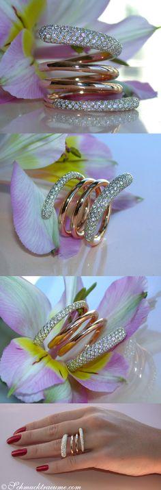 Huge Multi Row Diamond Ring, 1.58 ct. G-VS Rosegold-18K - Visit: schmucktraeume.com Mail: info[at]schmucktraeume.com