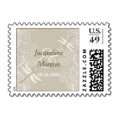 Burlap and Lace Rustic Wedding Postage Stamp