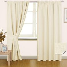 Thermal Blackout Pencil Pleat Curtain Pair Cream with Tie Backs