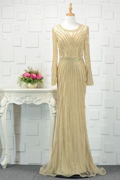 Magbridal Graceful Tulle Scoop Neckline Sheath/Column Prom Dresses With Beadings Prom Dresses Online, Cheap Prom Dresses, Prom Party Dresses, Occasion Dresses, Formal Dresses, Metallic Prom Dresses, Winter Prom Dresses, Evening Dresses, Gold Tulle