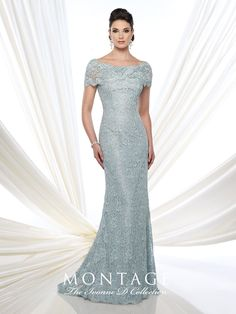 Lace fit and flare gown with short sleeves, wide bateau portrait collar, back covered buttons, lace appliqué placed around back thigh, sweep train. Sizes: 4 – 20