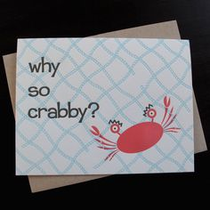 Image of 1301 - crabby letterpress everyday card