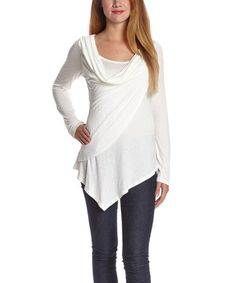 Look what I found on #zulily! White Drape Scoop Neck Top by Celeste #zulilyfinds