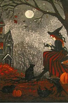 Cats and Witches: A Magical History - Hexen - Halloween Halloween Pictures, Halloween Art, Vintage Halloween, Halloween 2019, Halloween History, Halloween Horror, Fantasy Kunst, Fantasy Art, Witch Pictures