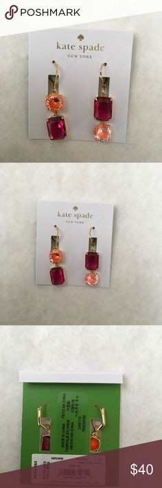"""🆕 Kate Spade Shine on Mismatched Drop Earrings Linear Drop Earrings that include two faceted stones in mixed up configuration; 1.5"""" Drop; 14k gold plated/glass kate spade Jewelry Earrings"""