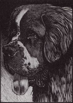"""St. Bernard"" Relief engraving by Barry Moser from MARK TWAIN'S BOOK OF ANIMALS. Artwork available at the R. Michelson Galleries or at rmichelson.com"