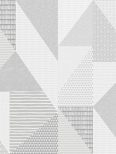 This Larsson Geo Wallpaper is part of the Catherine Lansfield Collection and will make a great addition to any room of your home with its retro style. The design features triangles filled with various dainty patterns made using a painterly effect including stripes, triangles, circles, obscure rectangles and arrows in tones of grey and white, set on a high quality thick wallpaper with a subtle fabric effect finish. Easy to apply by pasting the wall, this wallpaper has a soft matte finish. Thick Wallpaper, Geometric Wallpaper, Pastel Colors, Bold Colors, Colours, Drops Patterns, High Quality Wallpapers, Geometric Designs, Main Colors