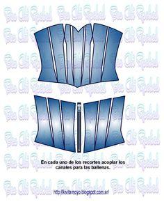 CORSET CON VARIOS RECORTES Corset Sewing Pattern, Barbie Sewing Patterns, Pattern Drafting, Diy Clothing, Clothing Patterns, Fashion Sewing, Diy Fashion, Corset Tutorial, Diy Crafts For Girls