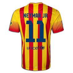 NIKE FC BARCELONA NEYMAR JR. AWAY JERSEY 2013/14 FOOTBALL LA LIGA SPAIN.