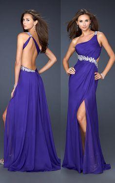 La Femme 17188 Purple One Shoulder Sparkly Long Homecoming Dress 2012