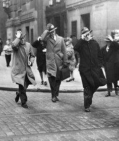 A windy day in Philadelphia. 1947. From the George D. McDowell Philadelphia Evening Bulletin Photograph Collection, Temple U...