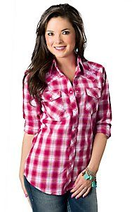 Cowgirl Hardware® Women's Red and Pink Plaid with Purple Horseshoe Long Sleeve Western Shirt