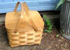 Vintage Basketville Picnic Basket Wooden Hinged Lid Two Handles Pie Shelf Campervan Accessories, Wicker Picnic Basket, Vintage Home Accessories, Egg Cups, Retro Vintage, Shelf, Pie, Torte, Shelving