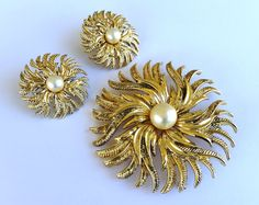 Cathe Jewelry Pin Brooch Earring Set Gold Tone Faux Pearl Center Designer  Costume Jewelry Vintage Classic Jewelry Flower Design. Vintage Serving Dish  Candy ...